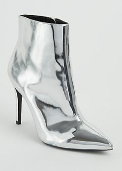 Metallic Stiletto Heel Booties