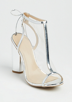 Silver Trimmed Clear Heels