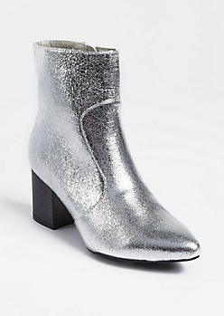 Silver Pointed Toe Booties