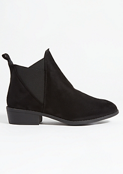 Black Faux Suede V-Cut Side Booties
