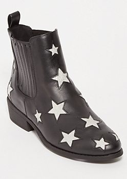 Black Metallic Star Cutout Booties