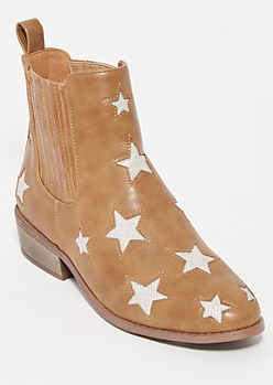 Taupe Metallic Star Cutout Booties