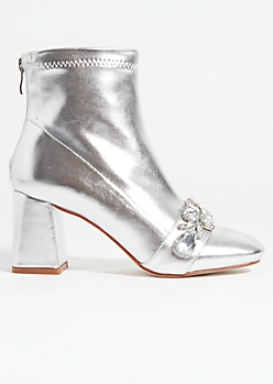 Silver Rhinestone Toe Strap Booties