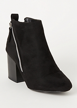 Black Faux Suede Double Zip Booties