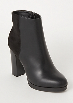 Black Mixed Material Platform Heeled Booties