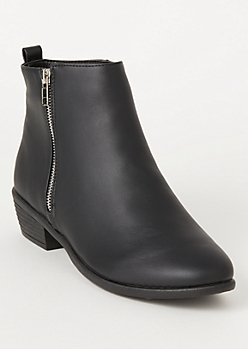 Black Faux Leather Side Zip Booties