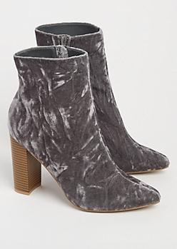Gray Crushed Velvet Heeled Booties