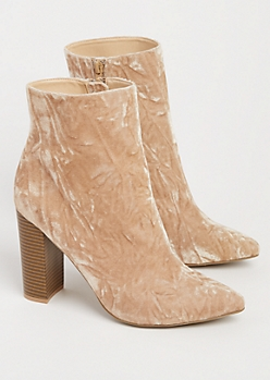 Taupe Crushed Velvet Heeled Booties