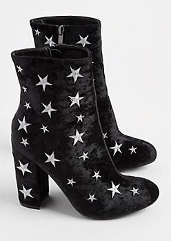 Black Velvet Star Embroidered Booties