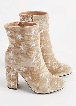 Taupe Velvet Star Embroidered Booties
