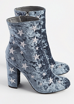 Blue Velvet Star Embroidered Booties