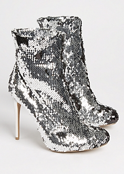 Silver Sequined Stiletto Booties
