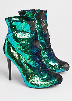 Multi Color Sequined Stiletto Booties