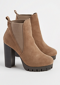 Taupe Suede Platform Booties