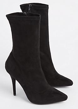 Black Faux Suede Stiletto Booties