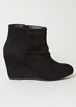 Black Faux Suede Slouchy Wedge Heel Booties