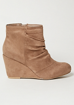 Taupe Faux Suede Slouchy Wedge Heel Booties