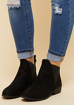 Black Faux Suede Crisscross Gore Booties