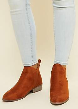 Brown Faux Suede Crisscross Gore Booties
