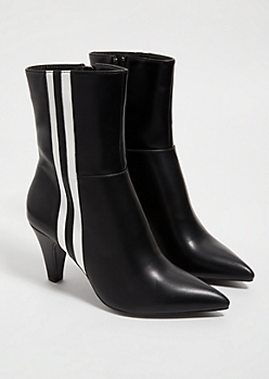 Black Faux Leather Side Striped Heeled Booties