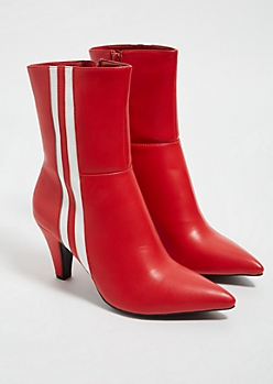 Red Faux Leather Side Striped Heeled Booties