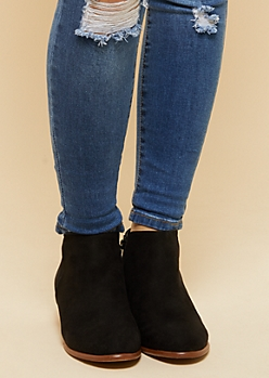 Black Side Zip Short Booties