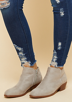 Light Gray Side Zip Short Booties