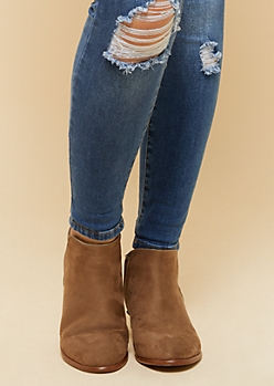 Light Brown Side Zip Short Booties