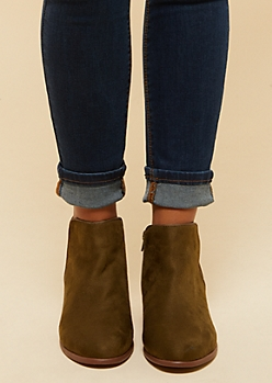 Olive Side Zip Short Booties
