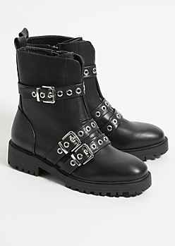 Black Triple Buckled Combat Boots