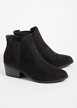 Black Low Block Heel Ankle Booties