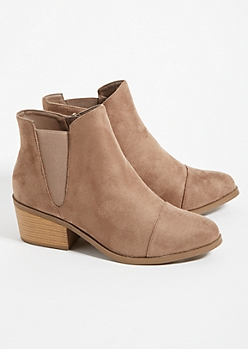 Taupe Low Block Heel Ankle Booties