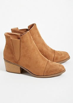 Cognac Low Block Heel Ankle Booties