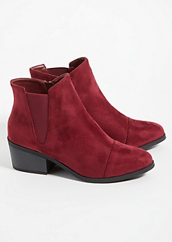 Burgundy Low Block Heel Ankle Booties