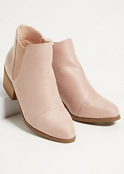 Pink Low Block Heeled Ankle Booties
