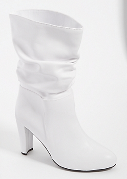 White Block Heel Slouch Booties