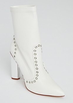 White Grommet Mirror Heel Booties