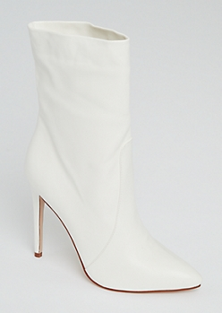 White Stiletto Booties
