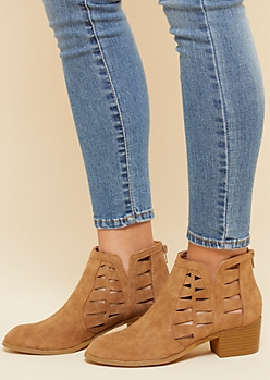 Tan Geometric Cutout Block Heel Booties