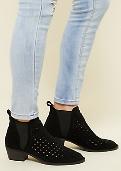 Black Perforated Pull On Heel Booties