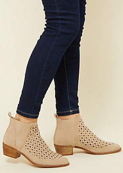 Sand Perforated Pull On Heel Booties