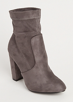 Gray Faux Suede Heeled Booties