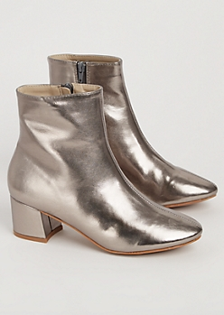 Metallic Faux Leather Booties