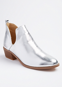 Silver Metallic Deep Cut Booties