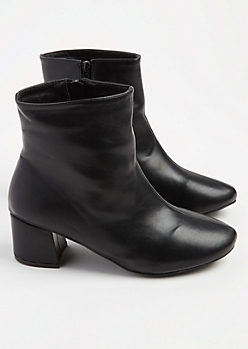 Black Faux Leather Bootie