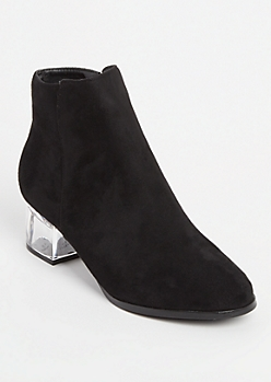 Black Faux Suede Clear Heeled Booties