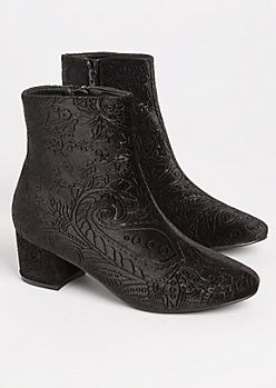 Black Embossed Velvet Booties
