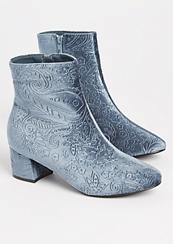 Gray Embossed Velvet Booties