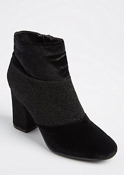 Black Velvet & Glitter Booties