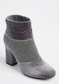 Gray Velvet & Glitter Booties